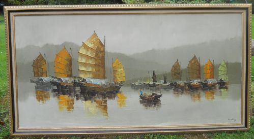 Pair Large Framed Oriental Boating Scenes Oil on Canvas